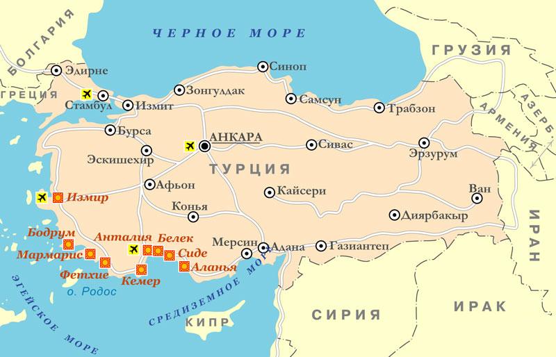 Карта турции с границами