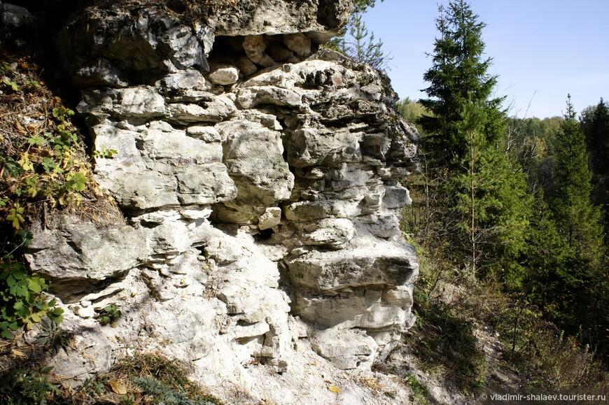 Выходы скал на правом берегу Держи.