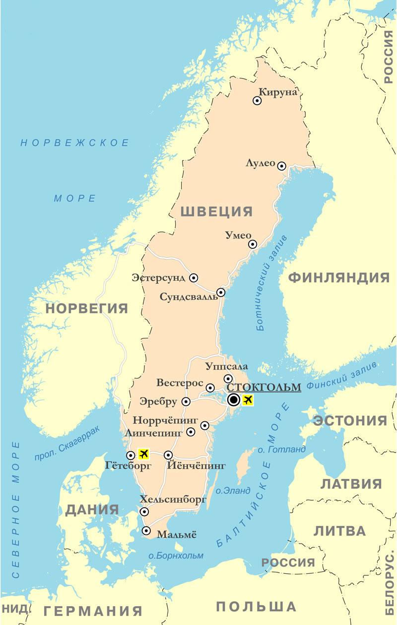 Karta Shvecii Podrobnaya Na Russkom Yazyke Na Turister Ru