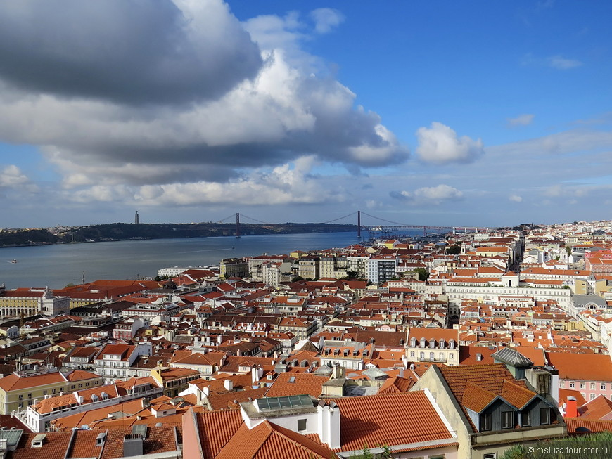 Вид на крыши города со стен замка Святого Георгия