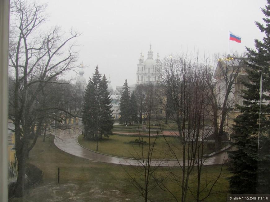 Вид из окна Белого зала. Дождь.