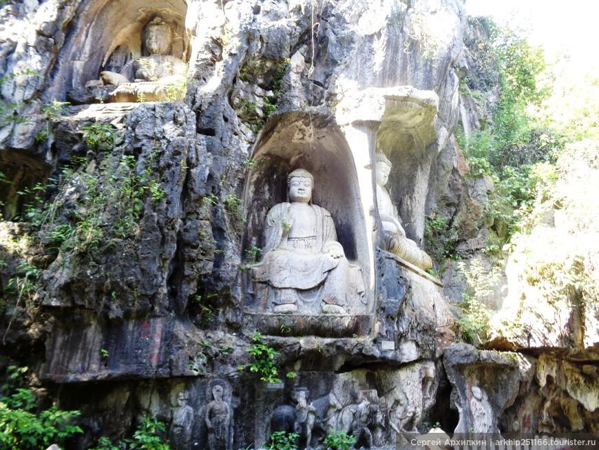 Буддистские скульптуры 10-14 века в  скале Прилетевшая вершина в Ханчжоу