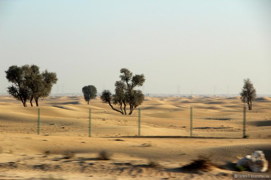 Это естественный пейзаж, окружающий Дубай. Пустыня с дымкой вдали.