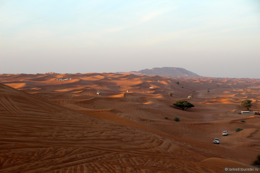 На фото очень сложно передать красоту этих мест. Конечно, это не совсем та бесконечная безлюдная пустыня, которую хотелось бы созерцать, особенно если ты мчишься на большой скорости по песчаным горам. Обратите внимание на высоту барханов, относительно размера машин.