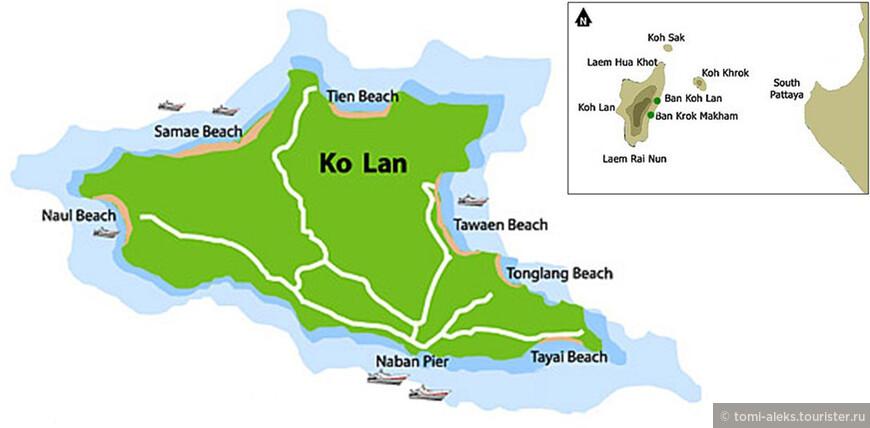 На острове шесть основных пляжей, куда приезжают туристы из Паттайи. (В длину Ко Лан всего 4 км). Пляжи как раз расположены в тех местах, где можно нормально перемещаться по берегу. Во многих остальных участках скалы вплотную подходят к морю. Идеальное место для жизни отшельников. А дорог, как мы видим по схеме, на острове - раз-два и обчелся.