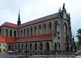 Здание построено орденом цистерцианцев в форме латинского креста. В архитектуре прослеживаются традиции соборов севера Франции, откуда был родом этот орден.
