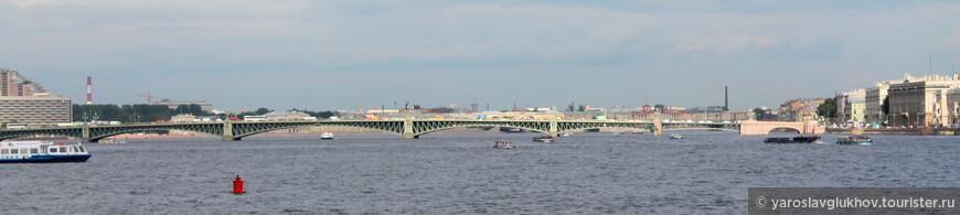 Панорама Троицкого моста со Стрелки.