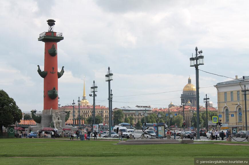 Отсюда видны основные доминанты города: одна из Ростральных колонн, шпиль Адмиралтейства и купол Исаакиевского собора.
