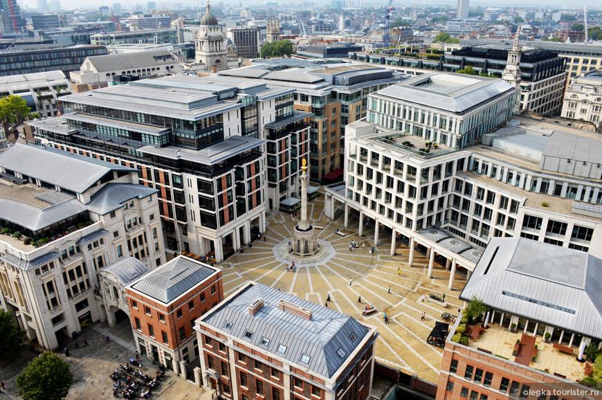 Панорамный вид Лондона с каменной галереи собора. Площадь Рaternoster