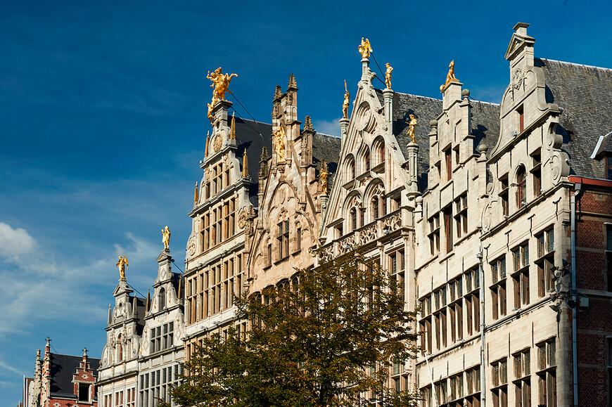 Антверпен. Фасады домов гильдий