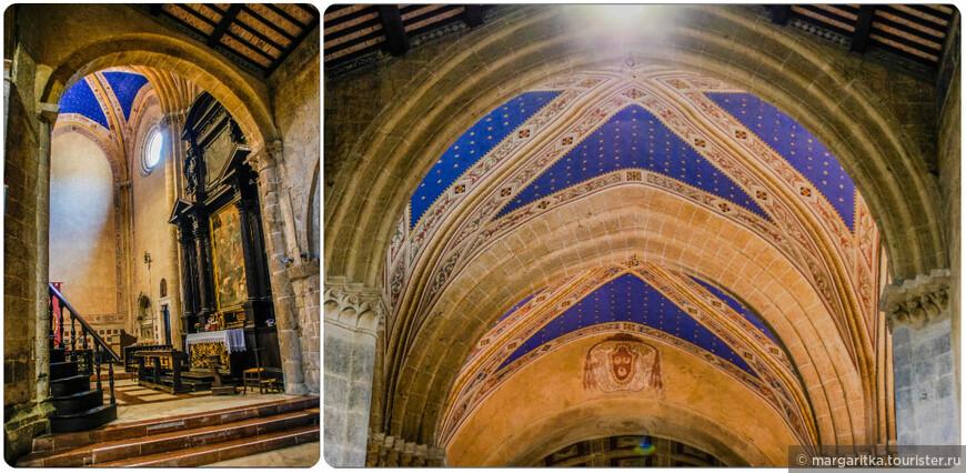 В главном нефе, справа, — красивая кафедра (pulpito), сложенная из плит VI-VII вв. и украшенная во внешней части серией панно, напоминающих инкрустации римского семейства Космати, XII-XIII вв
