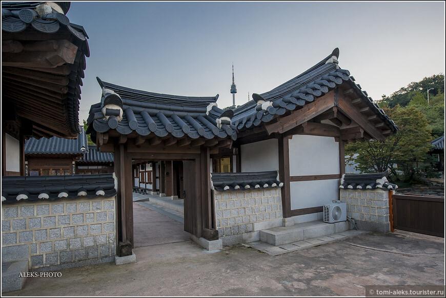 Недаром парк называется Намсангол. Вот сквозь крыши выглядывает вдалеке телебашня на горе Намсан - символ Сеула.