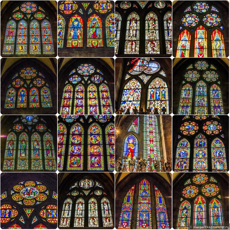 Свет проникает внутрь через многочисленные, забранные красивейшими цветными витражами окна. Большинство витражей – «новодел», однако над южным порталом остались витражи 13-го века.