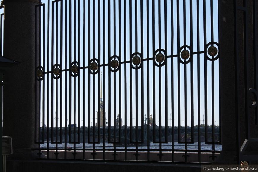 Отсюда виден Петропавловский собор и Троицкий мост.