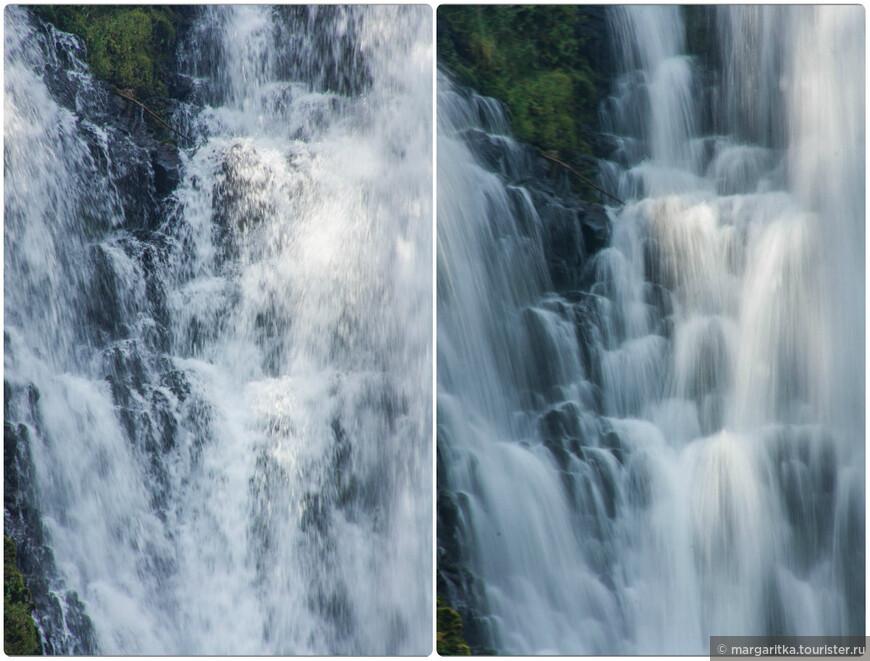 один и тот же кусочек водопада на разных режимах съемки. Кому какой больше нравится