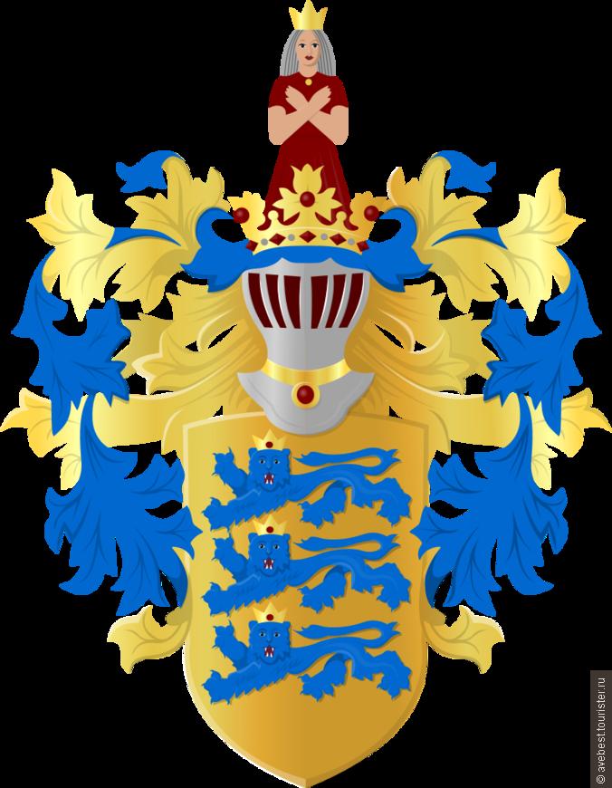 """Герб Таллина наряду с флагом является официальным символом Таллина, столицы Эстонии. В золотом щите три лазоревых леопарда (шествующих смотрящих впрямь льва) с золотыми коронами.  Щит увенчан серебряным шлемом с закрытым забралом и красной подкладкой. Намёт синий и золотой. Шлем увенчан золотой короной с червлёными самоцветами. В нашлемнике скрестившая руки перед грудью женщина в червлёном одеянии с золотой короной на голове. Три льва являются одним из старейших эстонских символов. Они используются с XIII века и происходят из герба датского короля Вальдемара II, некогда правителя Эстляндии. <noindex><noindex><a href=""""https://www.tourister.ru/go?url=https://ru.wikipedia.org/wiki"""" class=""""ext_link"""" target=""""_blank"""">https://ru.wikipedia.org/wiki</a></noindex></noindex>"""