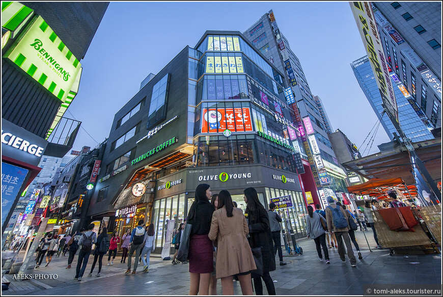 В Южной Корее много торговых марок из западных стран.
