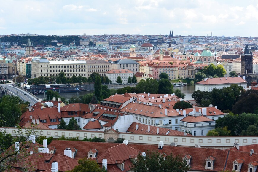 Так выглядят шпили базилики Петра и Павла со стороны Пражского града.