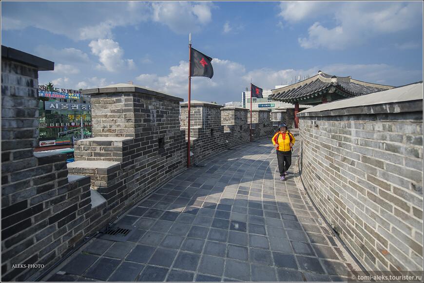 Вот тут дорожка прямо напоминает Великую Китайскую стену, на которой мы были в 2012 году. Значит, у корейцев есть свои стены. В Сеуле, оказывается тоже на холмах есть такая стена. Но мы ее не посетили...