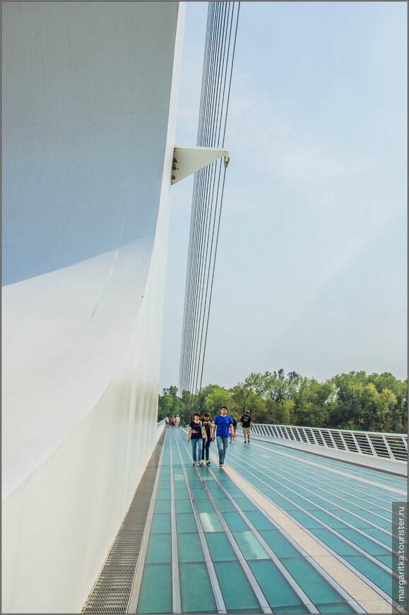 Кабеля для моста были изготовлены в Англии, а белая плитка, украшающая опору, — в Испании. Пол моста сделан из прозрачного стекла, привезённого из Квебека, которое ночью подсвечивается и принимает аквамариновый оттенок. Стальные структурные элементы были отлиты в Ванкувере