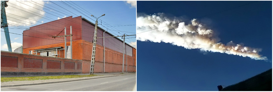 16. Вот кстати мои кадры из Челябинска. Слева – обрушившийся цех цинкового завода, уже восстановлен; справа – стоп-кадр из видео снятого сразу после взрыва.