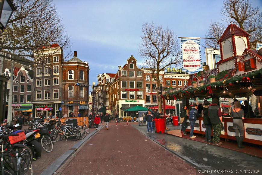 Рождественский базар на Рембрандтплейн в Амстердаме
