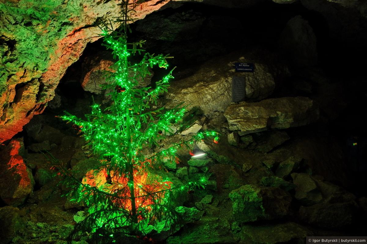 37. А эта елочка стоит тут постоянно, из-за прохладного климата и 100% влажности она может простоять намного дольше, чем на поверхности. В 1974 году группа студентов спелеологов была вынуждена встретить Новый год в одном из гротов пещеры, в связи с внезапным обвалом пород, загородившим выход наружу., Кунгур — Ледяные пещеры