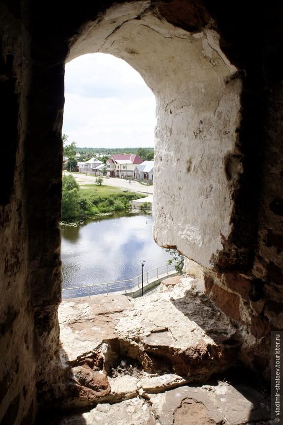 С колокольни красивый вид  на Тезу, на село.