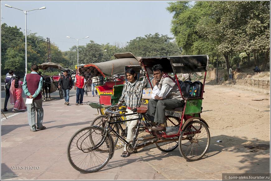 А этим ребятам-велорикшам пришлось потесниться. Возле Тадж-Махала в чести транспорт в виде верблюжачих повозок. На них туристы клюют лучше. Рядом с комплексом специально не разрешают проезжать автомобилям - пытаются так оградить мавзолей от загрязнения и гари.